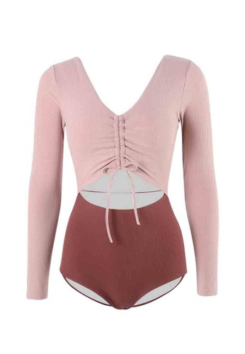 ZITIQUE pink Women's Vintage Style Long Sleeve Non-wired One-piece Swimsuit - Pink D0445USE4DC8EFGS_1