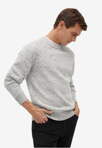 Mango Man beige Flecked Wool Sweater 1145BAA7FE2BD6GS_1