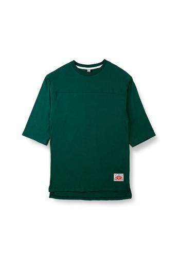 Peeps green Unbalance 3/5 Short Sleeved TEE 9525FAA67EE953GS_1