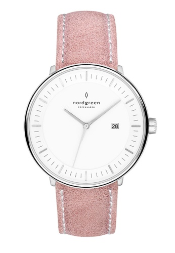 Nordgreen pink and silver Nordgreen Philosopher Silver 36 mm - Pink Leather Watch 90DC0ACA341D04GS_1