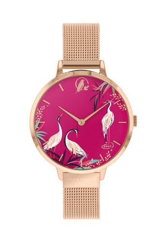 Sara Miller pink and gold Sara Miller London - HERON watch 34mm - Pink/Rose Gold Mesh Strap (SA4066) 4DF59ACF006BD9GS_1