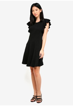 4d27ac98c89 20% OFF ZALORA Ruffle Sleeve Belted Fit And Flare Dress S  34.90 NOW S   27.90 Sizes XS S M XL