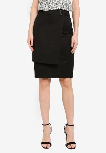 ZALORA WORK black Asymmetrical Wrap Skirt 16ECBAAA1FBFC2GS_1