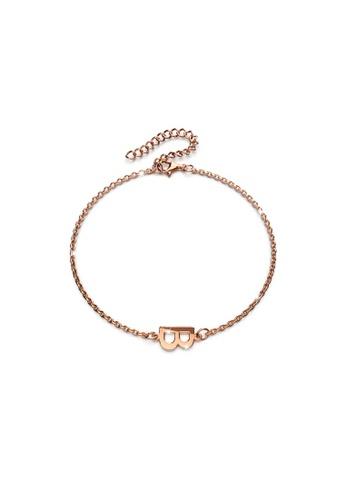 Bullion Gold gold BULLION GOLD Bold Alphabet Letter Initial Charm Bracelet in Rose Gold Tone - B 6D901AC1881846GS_1