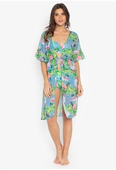 97525a04401 Chase Fashion green Floral Three Piece Swimset Ruffled Shorts With Midi  Kimono A432BUS512D7DEGS 1