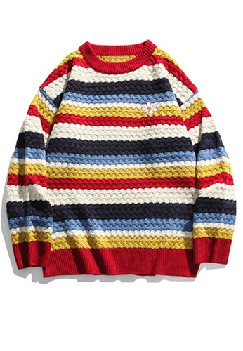 Twenty Eight Shoes Loose Contrast Stripe Knit Sweater HH0524 A3ACFAAD1B52C6GS_1