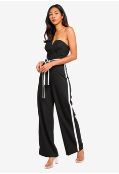 f7720ef35c4200 10% OFF Miss Selfridge Black Side Stripe Bandeau Jumpsuit S  113.00 NOW S   101.90 Available in several sizes