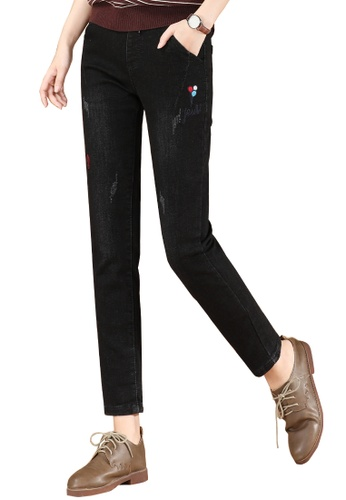 A-IN GIRLS black Elastic Waist Warm Jeans (Plus Cashmere) 12ED7AAA14F012GS_1