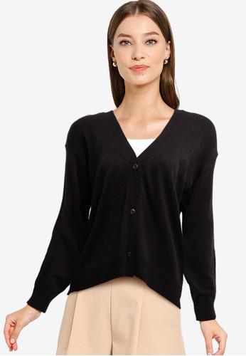 Button On black Women Buttoned Cardigan 0B5C4AAE633114GS_1