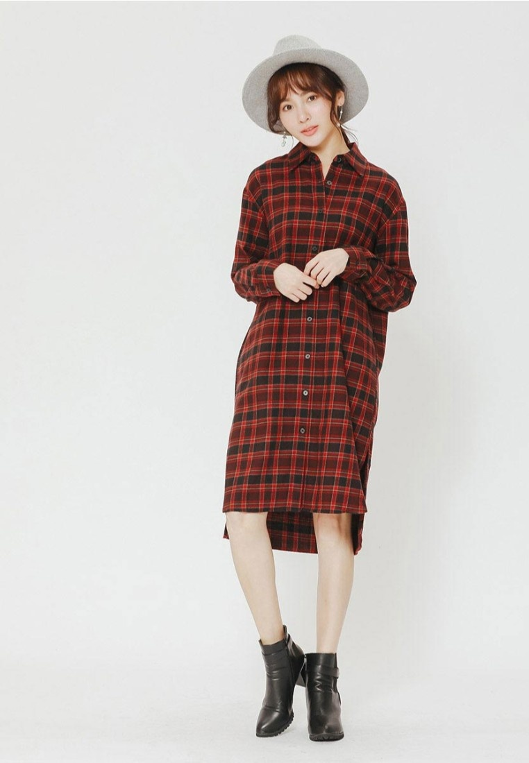 Long Shirt H Plaid CONNECT Red 1wEwBvqxXp