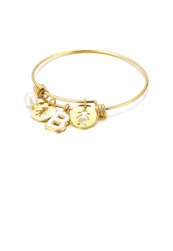 Glamorousky white Fashion Creative Plated Gold English Alphabet B Round Cartoon Character 316L Stainless Steel Bangle with Imitation Pearls B874CAC4A2B0D3GS_1