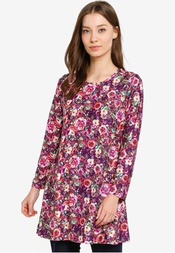 Aqeela Muslimah Wear purple Basic Longline Top A638EAAFC3ECE6GS_1