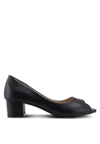 Mimosa 黑色 質感魚口低跟鞋 EE96CSH26ADD91GS_1