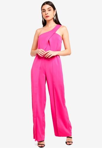 e8df2f3e0d0 Shop Lavish Alice One Shoulder Wrap Over Wide Leg Jumpsuit Online on ...