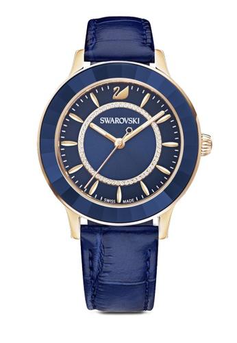 Swarovski blue Octea Lux Leather Strap Watch 8987BACAD07189GS_1