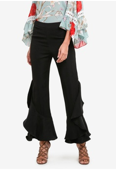 Ruffled Bell Bottom Trousers