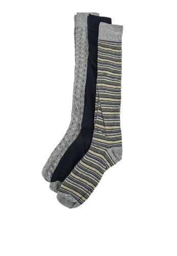 OVS grey 3-Pair Long Socks D0746AAADDAF14GS_1