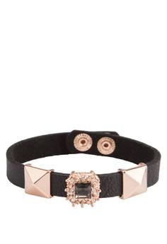 藝術金飾皮革手環