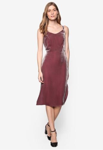 Dorothy Perkins purple Velvet Slip Dress DO816AA14ZKJMY_1