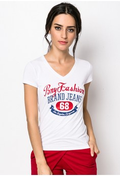V-Neck Tee With Print And Rhine Stone Detail