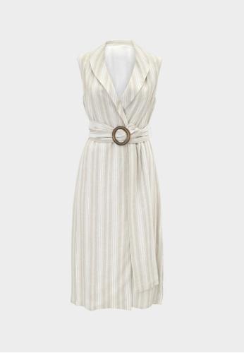 Pomelo beige Purpose Sleeveless Belted Striped Dress - Beige 3F69AAA34A98EFGS_1
