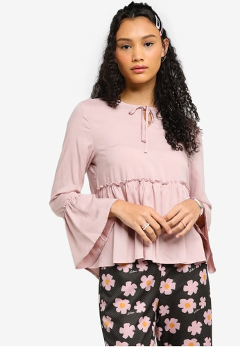 Lubna pink Frills Blouse Made From TENCEL™ 14680AA38DC652GS_1