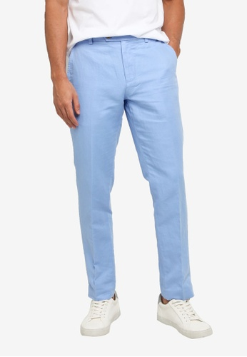 Brooks Brothers blue Milano Fit Cotton Linen Pants 873BDAA74AF36CGS_1
