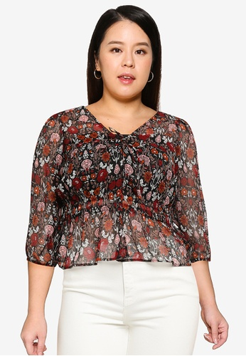 Violeta by MANGO black Plus Size Flowy Printed Blouse 15A10AAA4AAAA3GS_1