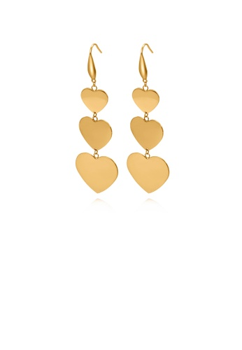Glamorousky silver Fashion and Elegant Plated Gold Heart-shaped 316L Stainless Steel Earrings 72236AC0A7F959GS_1