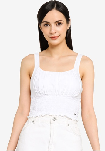 Hollister white Smocked Ruched Bust Top C4ADDAA38B8357GS_1