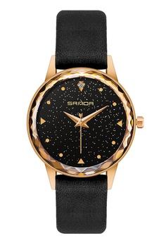 71855f7438fe SANDA black SANDA P229 Enchanted Genuine Leather Band Star Quartz Watch for  Women (Black)