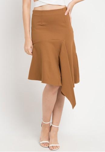 Uptown Girl brown Asym Hem Skirt 76EDAAAC6D214EGS_1