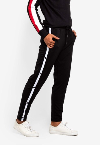 Brave Soul black and multi Snap Joggers 37430AA5673A18GS_1