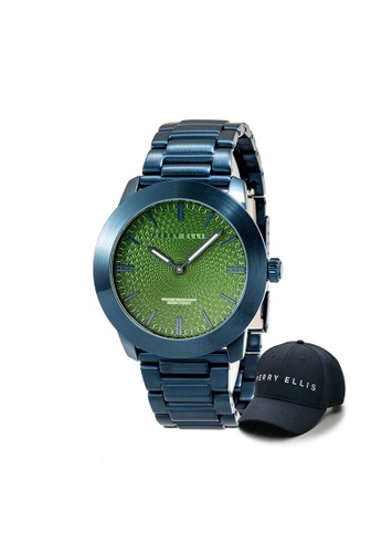 Perry Ellis blue Perry Ellis Slim Line Unisex 42mm Quartz Stainless Steel Watch 07012-02 with Perry Ellis Cap 4F72BAC1E2274FGS_1