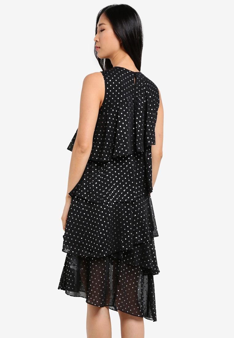 Spot Dress Black Pattern WAREHOUSE Foil Ruffle KEwdqYw0