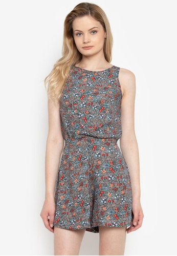 shop pois sleeveless romper shorts in floral printed polycotto