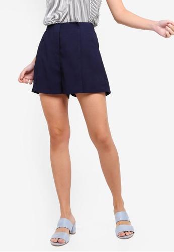 ZALORA 海軍藍色 高腰褶飾短褲 0763EAABE9505DGS_1