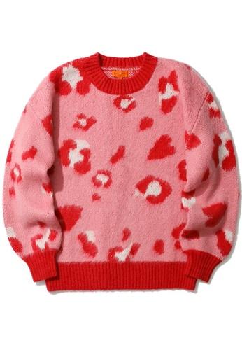 tout à coup pink Leopard print knit sweater F541DAAF727829GS_1
