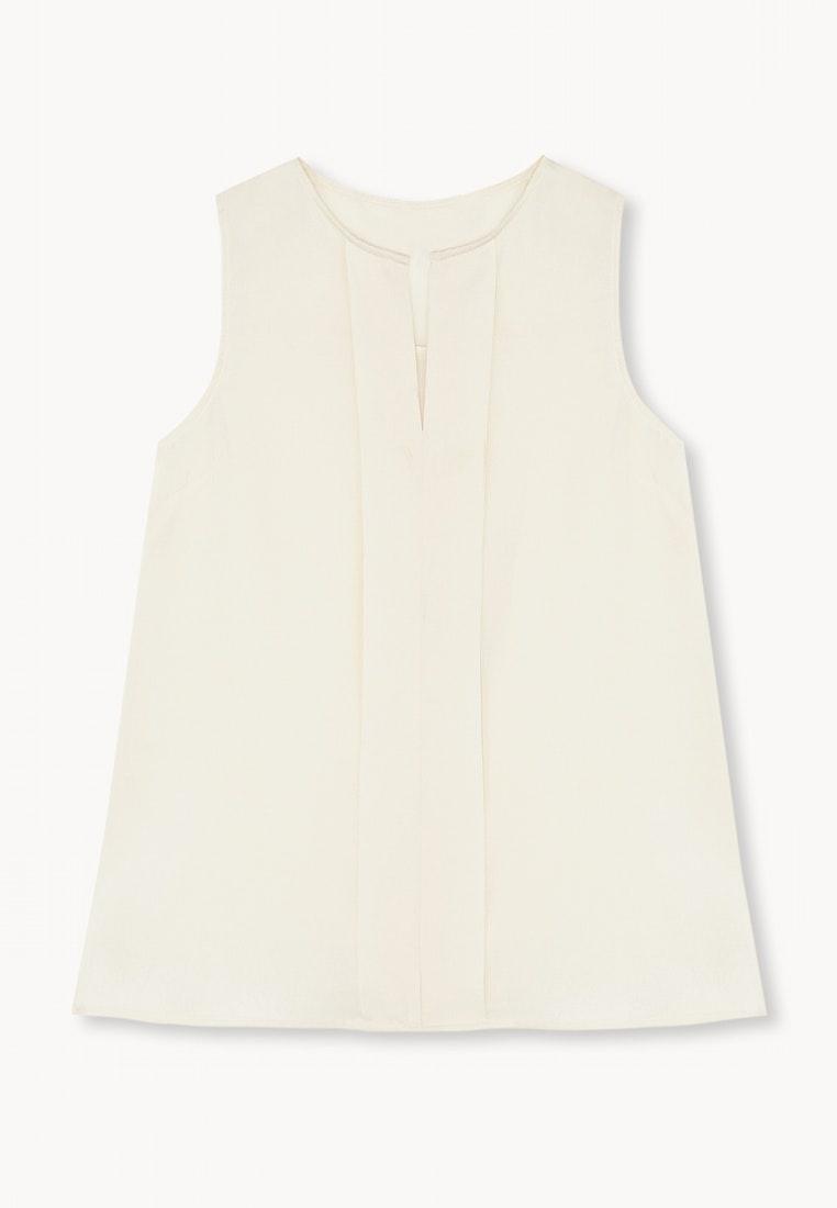 White Top Pleat Sleeveless Creme Center Pomelo wqYPaxFa
