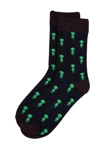 Springfield navy Alien Jacquard Socks 89562AA5B7A352GS_1