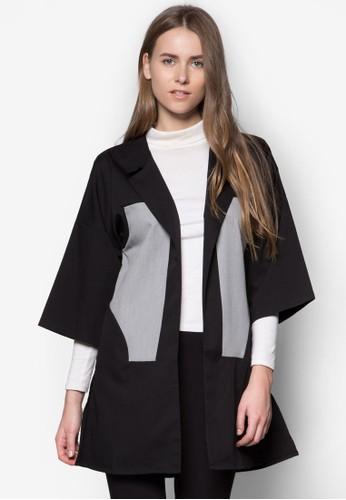色塊拼接長版開襟外套, 服飾, 西裝esprit 面試外套