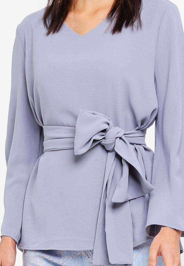 Zalia Top Blue Tie Waist Dusty q4f6Pq