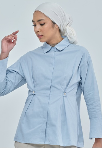 MC Vogue blue Blair Light Blue Pearl Cotton Top 75E4AAAF9C201CGS_1
