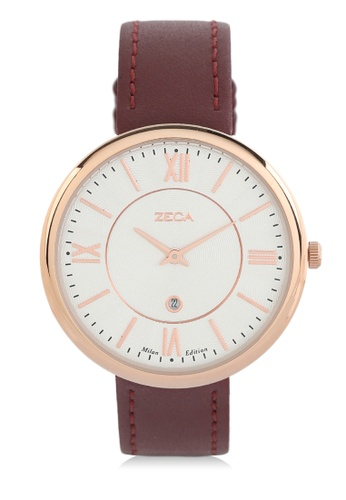 ZECA red Zeca Watches Ladies Fashion Leather Analog - 1016LA Red 6670BACE94CD36GS_1