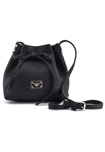 Vince black Womens PU Leather Drawstring Bucket Bag Crossbody Bag (Black) FL898AC62NXLMY_1