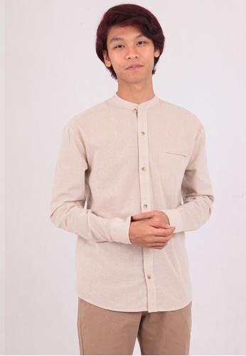 East India Company brown Mithun Stand Collar Long Sleeve Shirt 576FAAA322F9CEGS_1