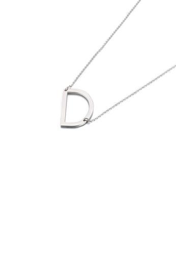 Glamorousky 銀色 簡約時尚英文字母D 316L鋼吊墜配項鏈 ECE7BAC135480EGS_1