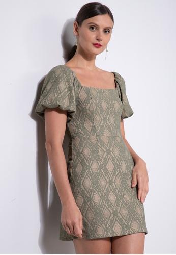 ZALORA OCCASION green Lace Puff Sleeve Mini Dress 10F49AAA1FD653GS_1