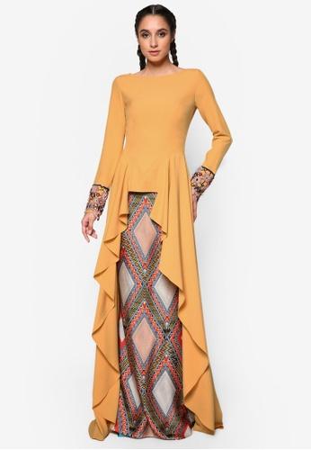 Jovian Mandagie for Zalora yellow and multi Zania Baju Kurung JO948AA56WOPMY_1