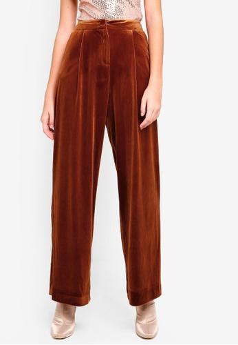 Buy Miss Selfridge Nutmeg Velvet Trousers Zalora Hk